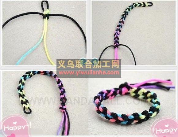 多彩手链手绳手工编织方法步骤(如图)